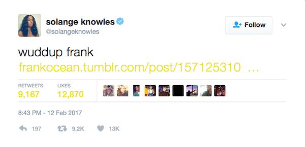 A mensagem na qual Solange Knowles sugere o boicote aos próximos Grammys (Foto: Twitter)