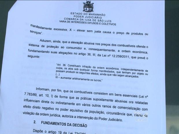 Decisão Judicial obriga postos de combustíveis a reajustar os preços (Foto: Reprodução/ TV Mirante)