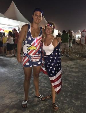 Americanos estiveram na Arena para apoiar suas duplas (Foto: Lucas Barros)
