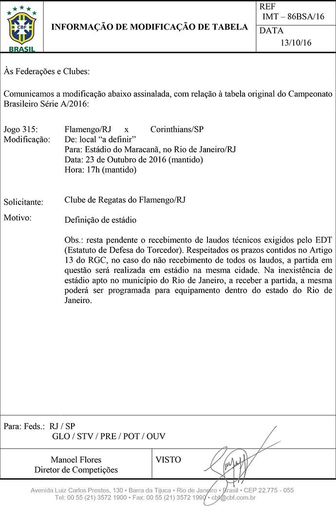 Documento CBF (Foto: CBF)
