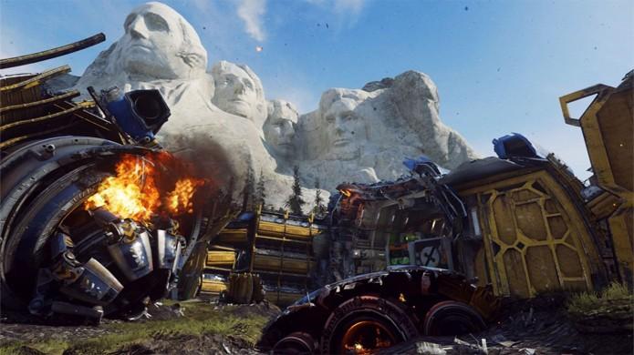 Nave alienígena perturba presidentes no Monte Rushmore, agora mapa Site 244 no DLC Ascendance de Call of Duty: Advanced Warfare (Foto: Reprodução/VG247)