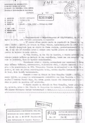 Documento sigiloso do governo foi divulgado somente agora, 46 anos após suposto aparecimento (Foto: Reprodução EPTV)