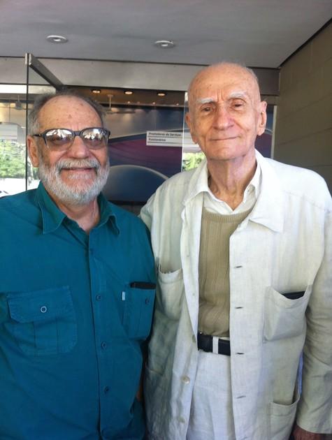 Walther Negrão e Ariano Suassuna no Projac (Foto: Tv Globo)