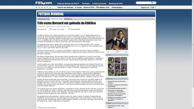Site da Fifa destaca goleada do Galo (Foto: Reprodução / Site Oficial)