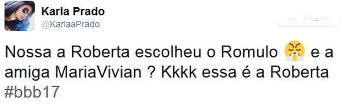 Roberta declara torcida para Rômulo e surpreende internautas (Foto: Reprodução da Internet / Twitter @KarlaaPrado)