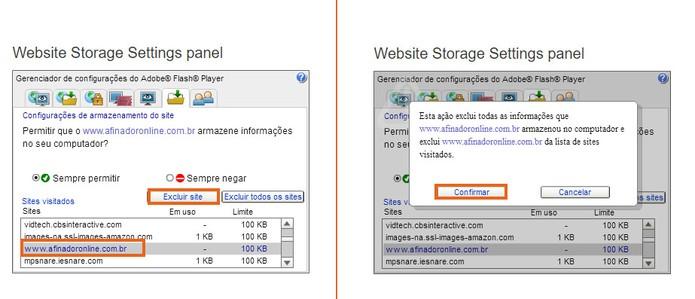 O usuário pode excluir sites específicos do cache do Flash Player (Foto: Reprodução/Barbara Mannara)