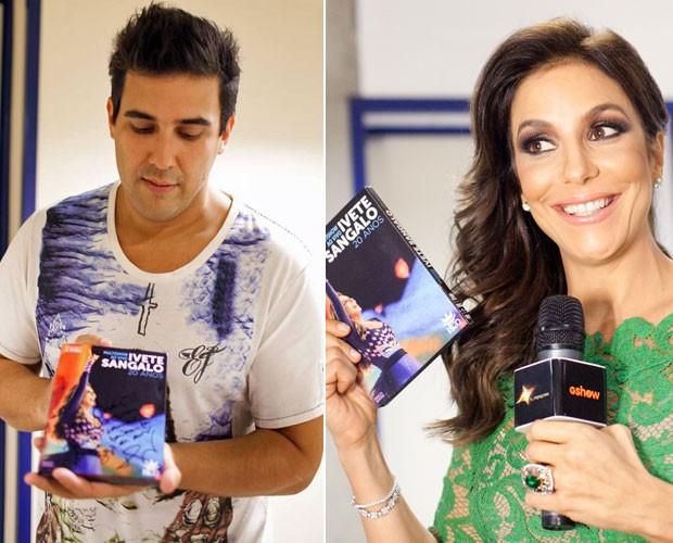 Ivete Sangalo presenteia Fê Paes Leme e André Marques com novo DVD autografado. Que luxo! (Foto: Dafne Bastos/TV Globo)