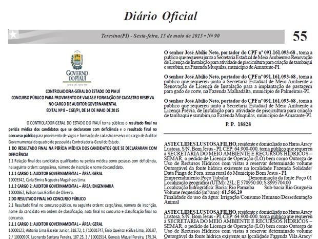 Diário Oficial do Estado do Piauí publica lista de aprovados em concurso da CGE PIauí (Foto: Reprodução)