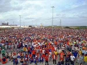 Assembleia dos trabalhadores da Refinaria, na sexta (27). (Foto: Sintepav-PE / Divulgação)