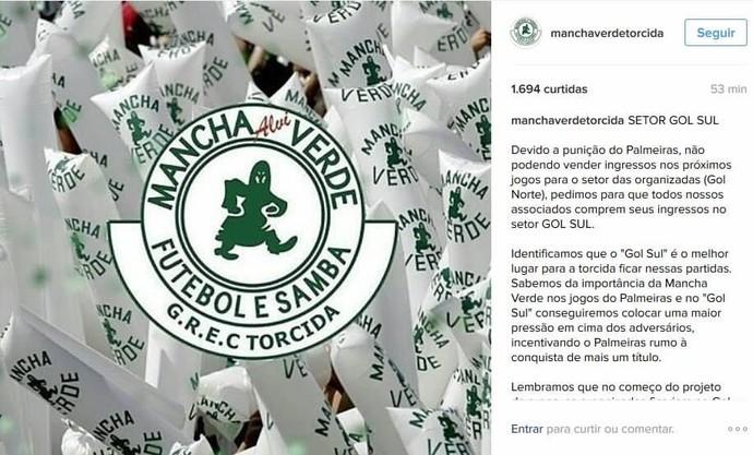 Mancha divulgou em redes sociais onde se posicionaria no estádio (Foto: Reprodução/Instagram)