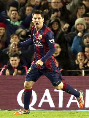 Messi comemora gol do Barcelona contra o Espanyol (Foto: Agência EFE)
