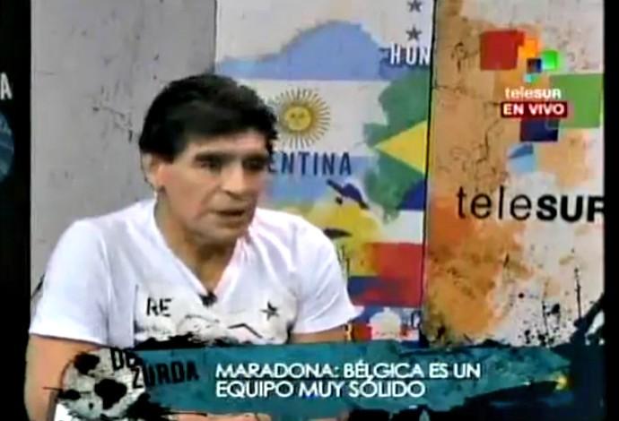 Maradona criticou o desempenho da Argentina contra a Suíça e disse que a Bélgica dará mais trabalho (Foto: Reprodução / TeleSur)