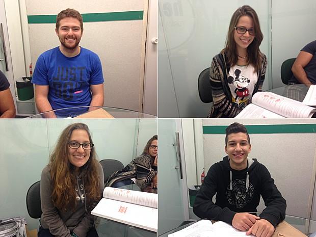 Henry Barrinovo, Millena Colla, Julia Albuquerque e Gabriel Malta querem estudar medicina e ainda têm uma longa lista de provas pela frente (Foto: Vanessa Fajardo/ G1)