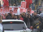 Sindicatos protestam contra o ajuste fiscal e terceirização em todo o país