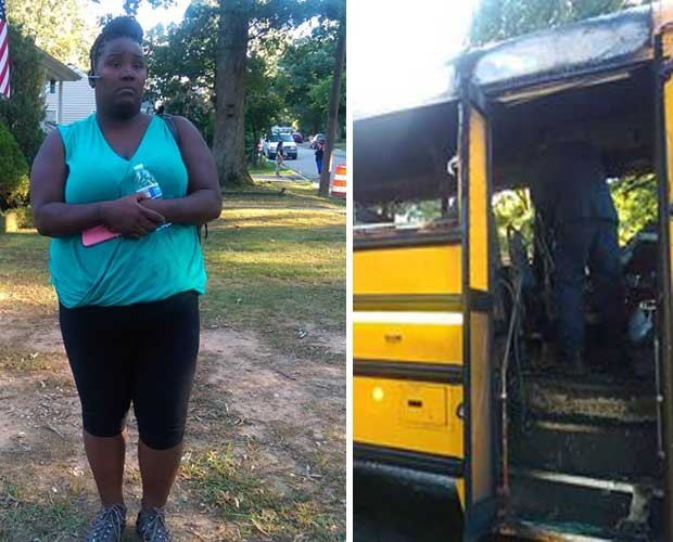 A motorista heroína e o ônibus incendiado (Foto: Reprodução - Facebook)