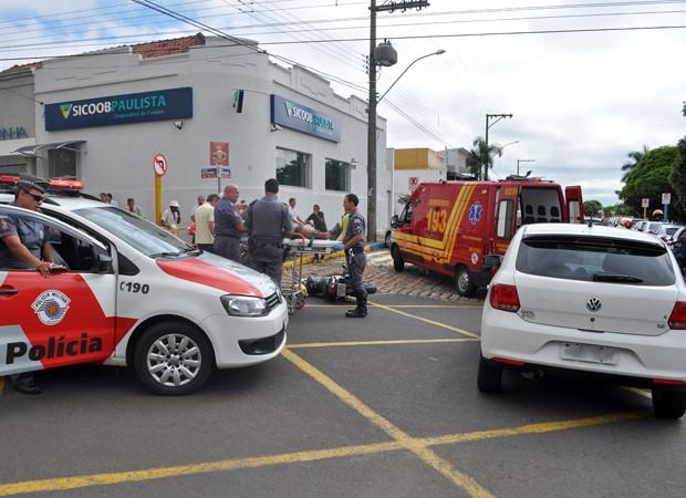 Acidente deixou motociclista ferido em Adamantina (Foto: Ricardo Torquato/Cedida)