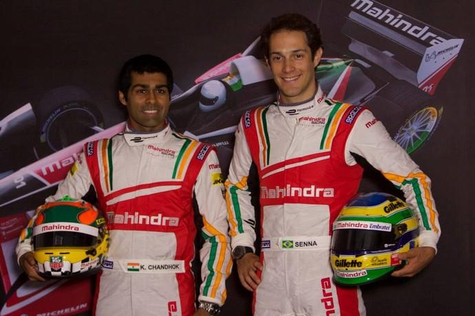 Bruno Senna e Karun Chandhok em anúncio da equipe Mahindra Racing, da Fórmula E (Foto: Divulgação)