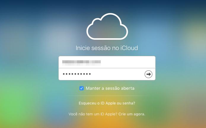 Acessando a sua conta iCloud (Foto: Reprodução/Helito Bijora)