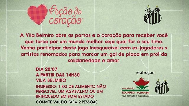 Jogo beneficiente para a Ação do Coração (Foto: Divulgação/Facebook)