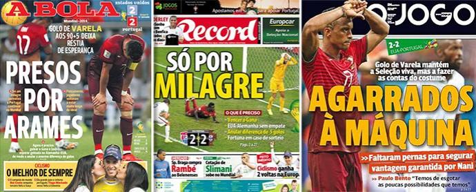 Montagem capas jornais portuueses (Foto: Editoria de Arte)