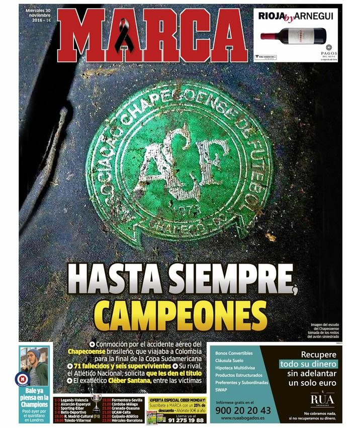 Capa de jornal Marca Chapecoense (Foto: Reprodução / Marca)