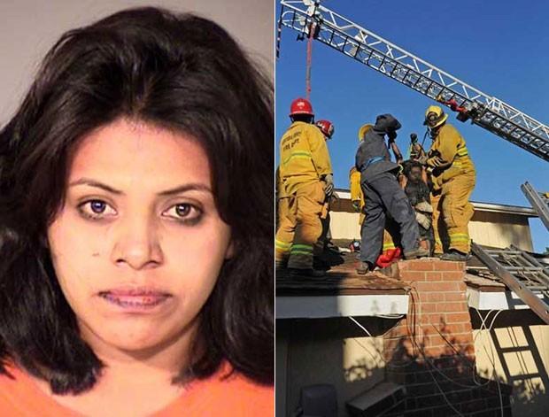 Mulher ficou entalada em chaminé na Califórnia (Foto: Ventura County Fire Department/AP)