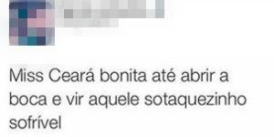 Internauta se refere ao sotaque da cearense como 'sofrível' (Foto: Twitter/Reprodução)