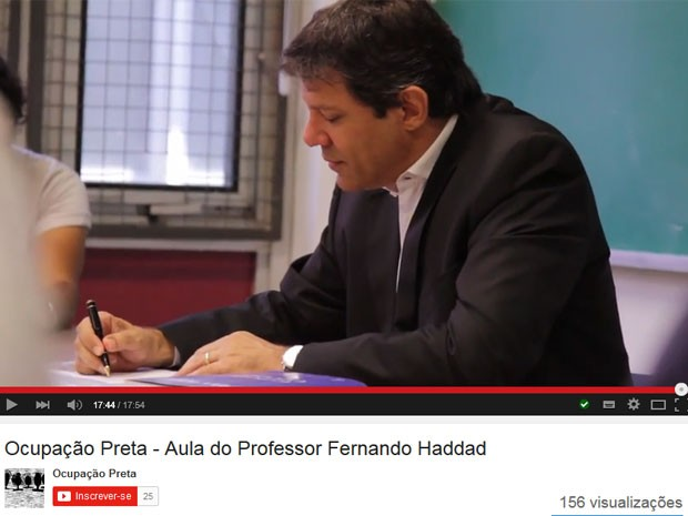 O professor Fernando Haddad, prefeito de São Paulo, assinou moção de apoio aos estudantes negros (Foto: Reprodução/Youtube/Ocupação Preta)