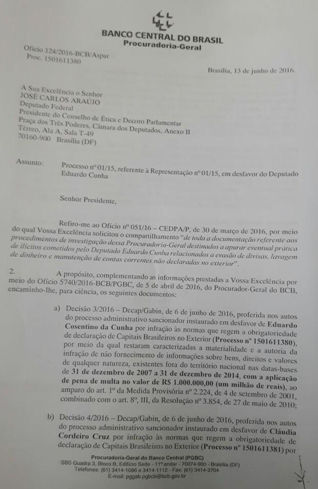 Parecer enviado pelo Banco Central ao Conselho de Ética (Foto: Reprodução)