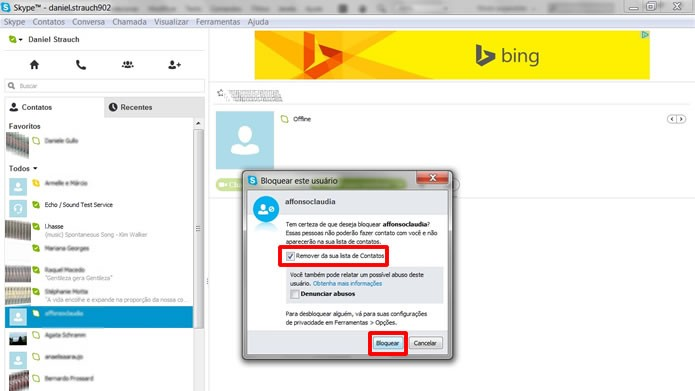 Os usuários bloqueados que forem bloqueados com a opção Remover de sua lista de Contatos não serão mais visualizados (Foto: Reprodução/Daniel Ribeiro)
