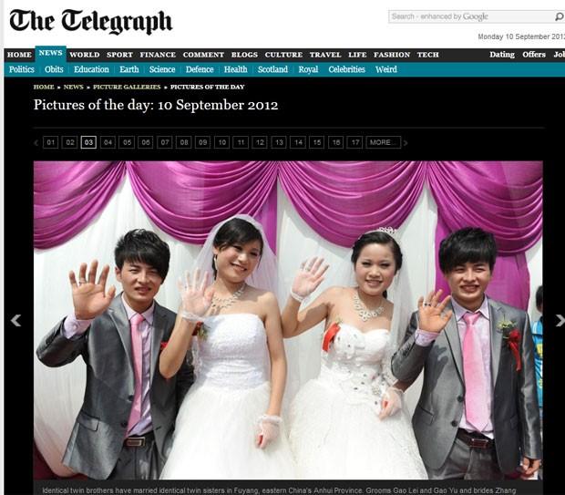 Gêmeos chineses Gao Lei e Gao Yu se casaram com as gêmeas Zhang e Zhang Huaying. (Foto: Reprodução/Daily Telegraph)