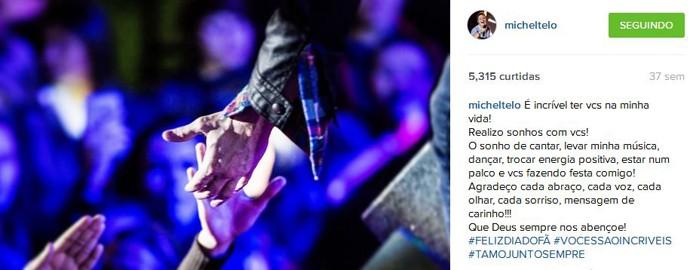 Dia 18 de março é o dia do fã e Michel Teló fez uma homenagem nas suas redes sociais aos seus fãs. Muito amor! (Foto: Reprodução Internet)