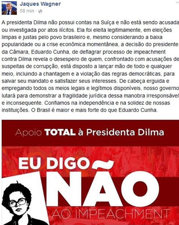 Post no Facebook do ministro chefe da Casa Civil, Jaques Wagner, contra a abertura do processo de impeachment (Foto: Reprodução/Facebook)