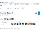 Evaristo Costa empresta gravatas a seguidor do Twitter