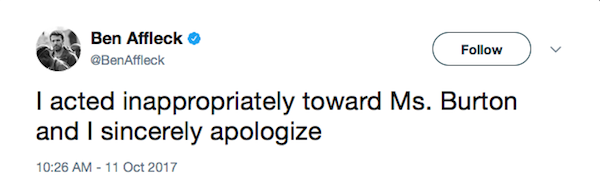 O pedido de desculpas de Ben Affleck à atriz Hilarie Burton (Foto: Twitter)