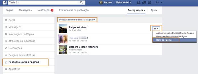 Abra a lista de pessoas que curtiram a página para banir determinado usuário (Foto: Reprodução/Barbara Mannara)