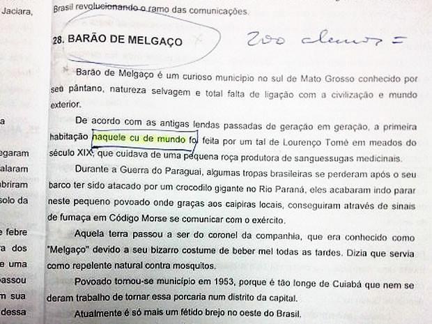 Cartilha classifica Barão de Melgaço de 'cu de mundo' (Foto: Reprodução)