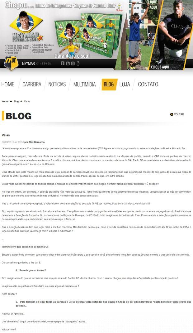 Blog Neymar (Foto: Reprodução)