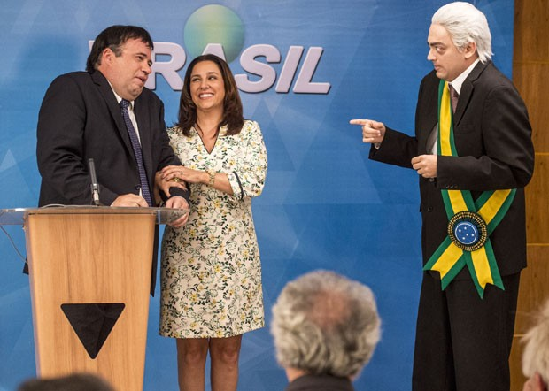 Otávio M6Uller, Renata Castro Barbosa e Fernando Caruso em cena no Zorra (Foto: Divulgação TV Globo / João Cotta)