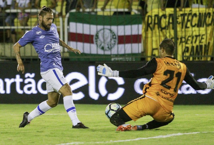 Rafael Sóbis para no goleiro Douglas Borges (Foto: Rudy Trindade/Light Press)