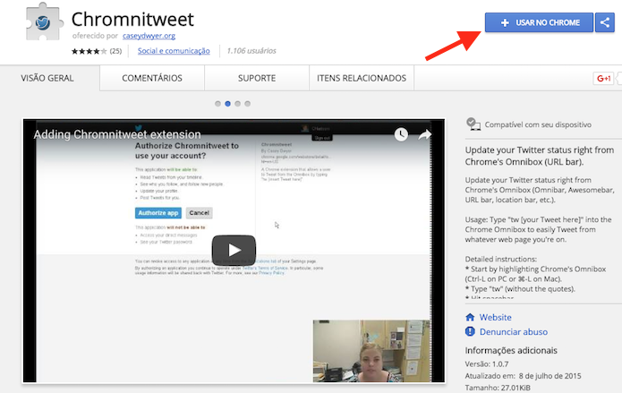 Opção de download da extensão Chromnitweet para Google Chrome (Foto: Reprodução/Marvin Costa)