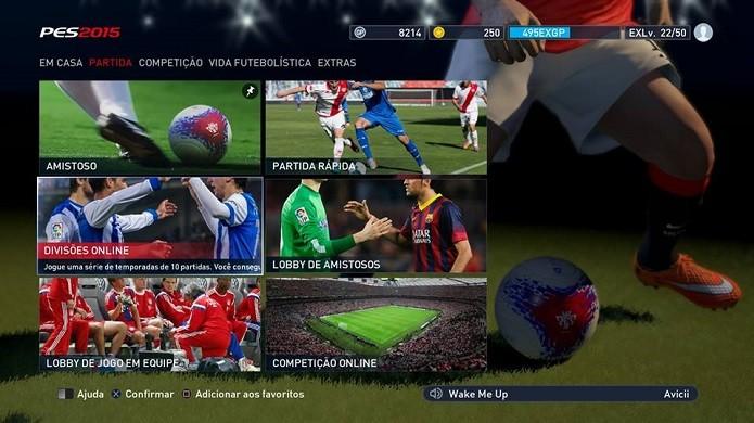 Selecione o modo Divisões no menu do PES (Foto: Reprodução/Thiago Barros)