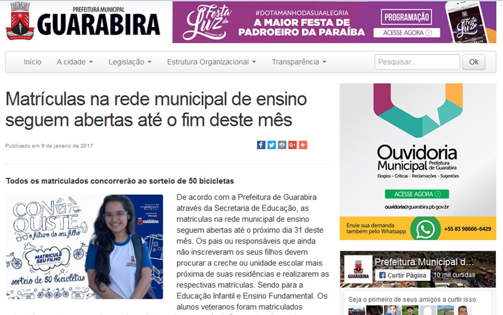 Prefeitura de Guarabira também anunciou sorteio de prêmios entre matriculados  (Foto: Reprodução/guarabira.pb.gov.br)