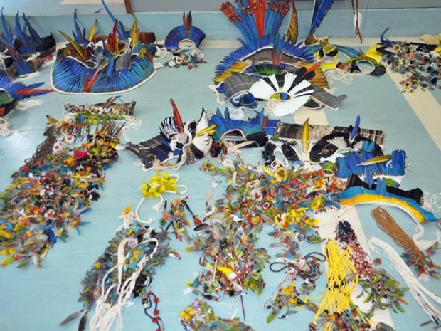 Mais de 800 peças com penas de aves silvestres foram apreendidas (Fot Divulgação/Polícia Federal)