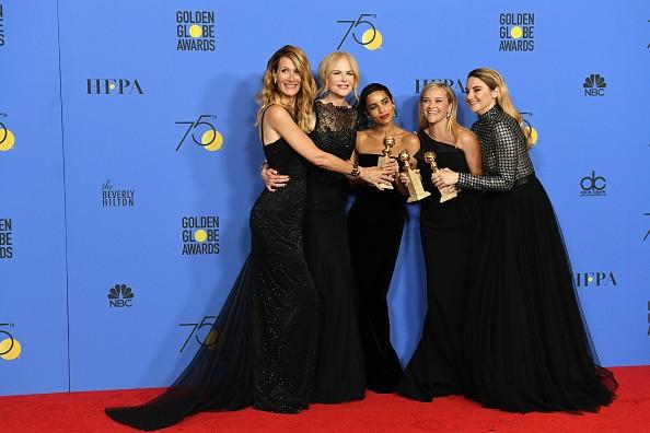 Globo de Ouro: Laura Dern, Nicole Kidman, Zoe Kravitz, Reese Whiterspoon e Shailene Woodley, de Big Little Lies, foram de preto para protestar contra o assédio (Foto: (Photo by Kevin Winter/Getty Images))