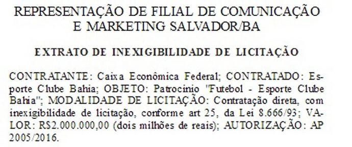 Contrato Bahia e Caixa Econômica Diário Oficial (Foto: Reprodução)