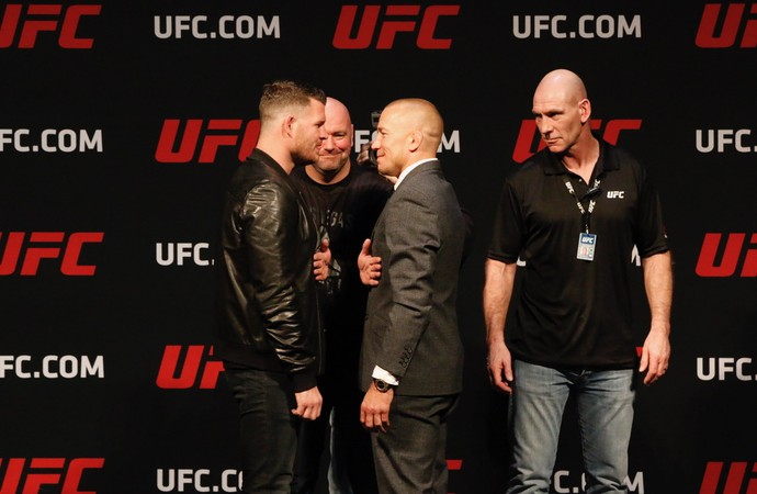 Michael Bisping, Georges St-Pierre, encarada, UFC, MMA (Foto: Evelyn Rodrigues)