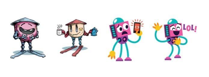 Os robôs também tem espaço nas figurinhas do Facebook (Foto: Reprodução/Carol Danelli)
