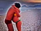 Bárbara Borges exibe barrigão da gravidez em foto de biquíni