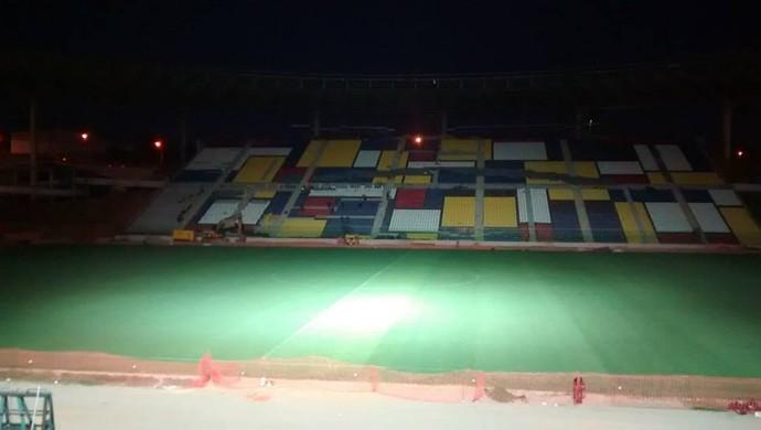 Estádio Kleber Andrade passa pelo primeiro teste de iluminação (Foto: Divulgação/Rio Branco A.C.)